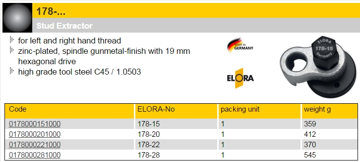 Elora 178 Stud Extractor for left of right hand thread