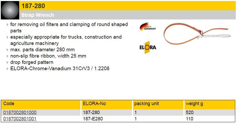 Elora 187-280 Strap Wrench