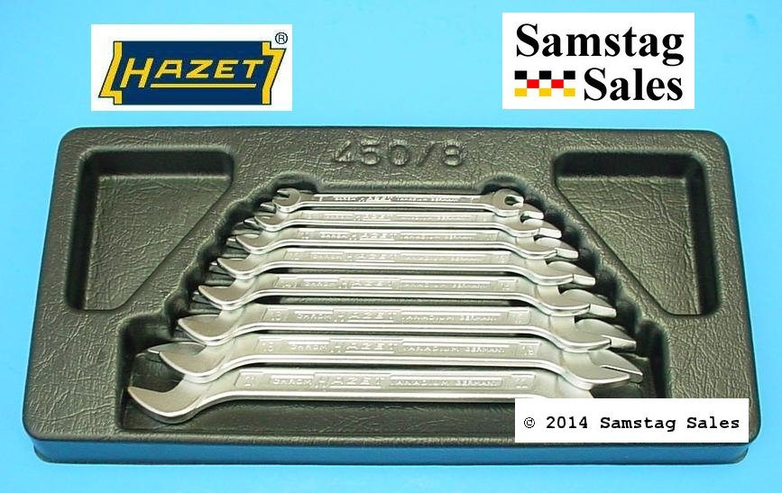 Hazet 450N/8 Double Open End Wrench Set of 8, comes in black tray