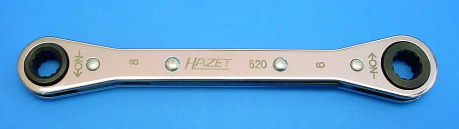 Hazet 620-8x9 Ratcheting Box-End Wrench, Flat style with traction profile, 140mm long
