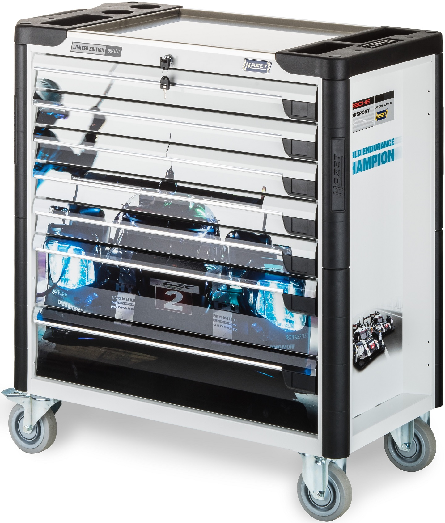 Hazet 179XL-7PDW Limited Editon Porsche Motorsport Tool Trolley White by Hazet of Germany