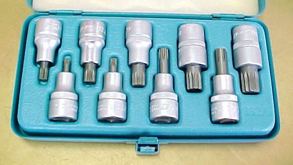 Hazet 990/9 Socket Set for screws with                       internal serration XZN. In a sheet metal storage                       box with plastic insert
