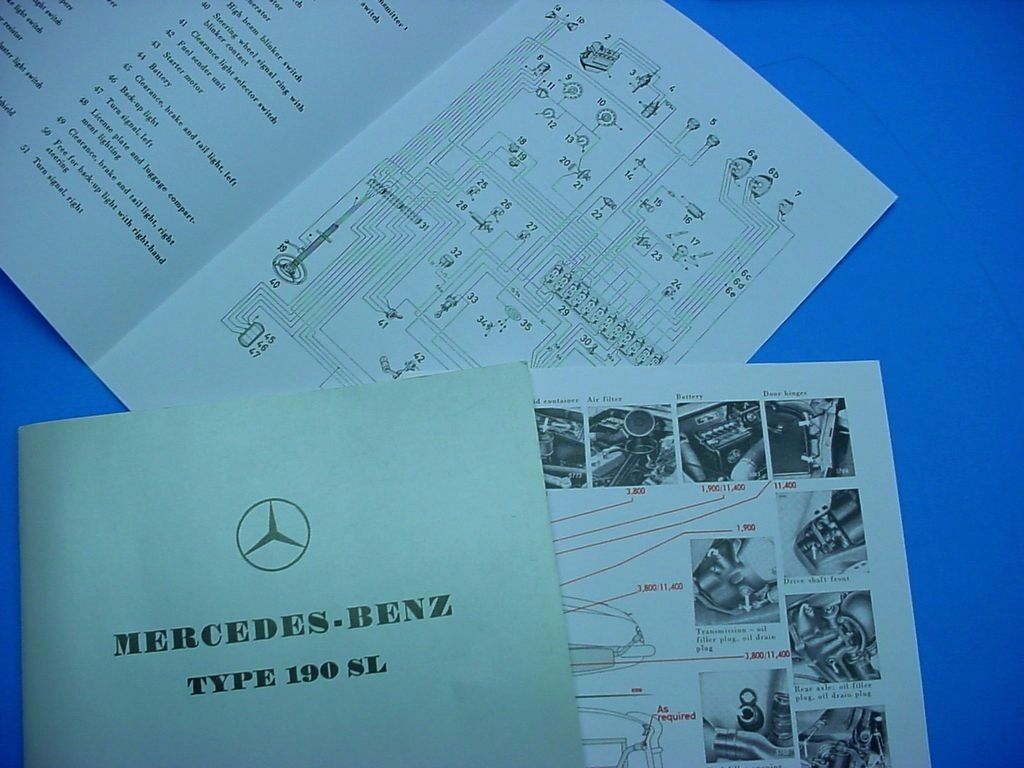 Mercedes Benz Passenger Car Literature Wiring Diagram W113 Set Of 1 Owners Manual Type 190 Sl 1955 63 Part Ql 6510 9020 02 Parts Catalog 1959 4433 13