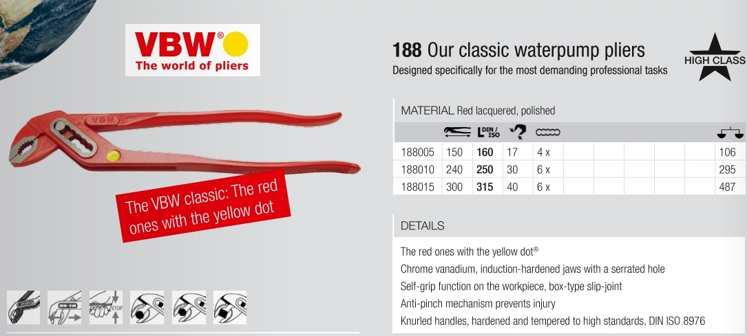 VBW 188 Classic Waterpump Pliers